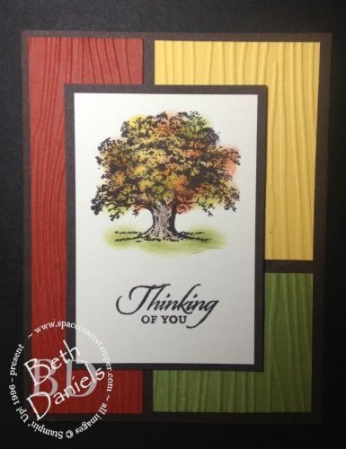 Fall tree color block card using Lovely As a Tree stamp. Colors are sponged using sponge daubers.