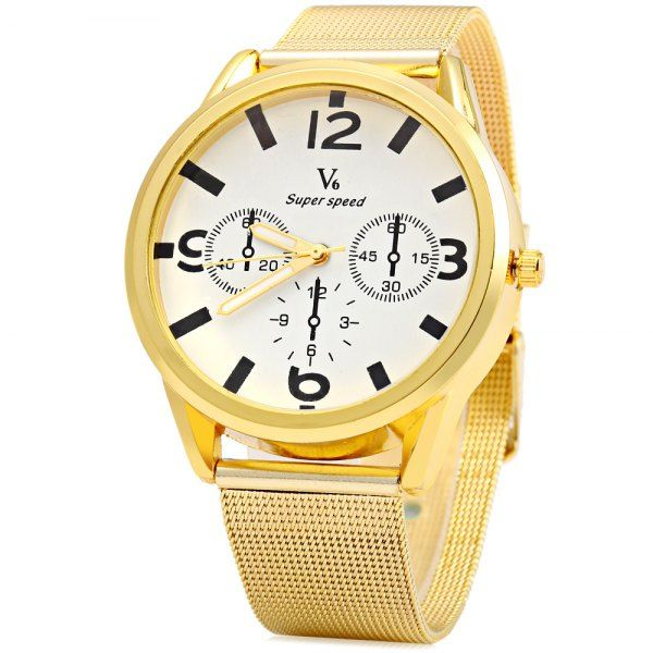 V6 0441 Quartz Watch with Decorative Sub-dial Golden Watch Case for Men #>=#>=#>=#>=#> Click on the pin to check out discount price, color, size, shipping, etc. Save and like it!
