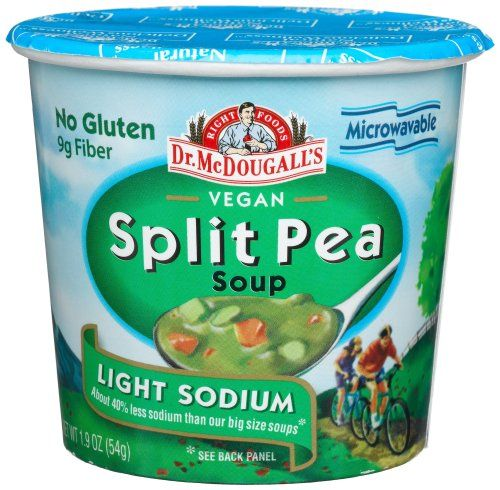 Dr. McDougall's Right Foods Vegan Split Pea Soup. All the McDougall soups are great, low fat, vegan, and reminiscent of those cup-o-noodles from my past. Because sometimes you just need a microwave meal to reassert your status as an American?