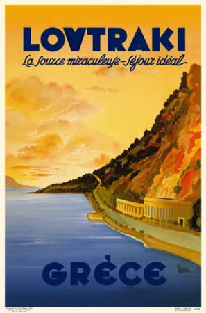 Vintage travel poster of Loutraki Greece 1930's  #kitsakis