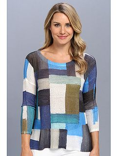 Nally & Millie Blue Patchwork Long Sleeve Poncho Top