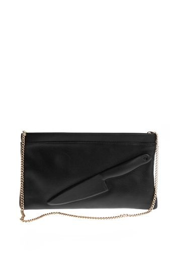 VLIEGER & VANDAM  GUARDIAN ANGEL KNIFE CLUTCH BLACK WITH GOLD CHAIN  $275