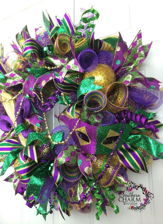 106 best Mardi grass wreaths images on Pinterest | Black ...