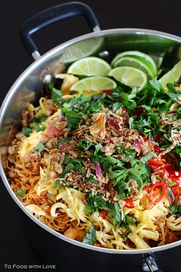 Fried Mee Siam (Vermicelli) with Crispy Shrimp, via To Food With Love