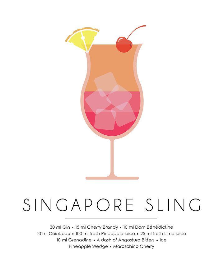 Singapore Sling Classic Cocktail Minimalist Print Mixed Media by Studio Grafiikka