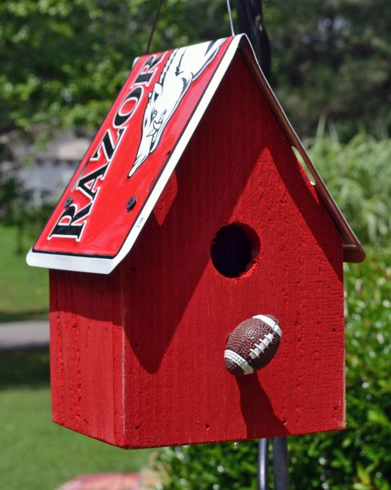 Rustic Birdhouse - Arkansas Razorback Birdhouse - Arkansas Football - Razorbacks