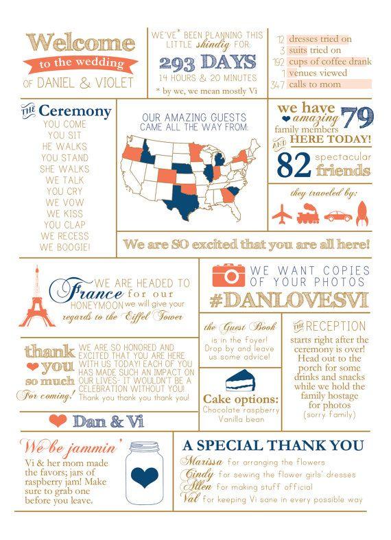 Info Graphic Wedding Program by BisforBrown on Etsy
