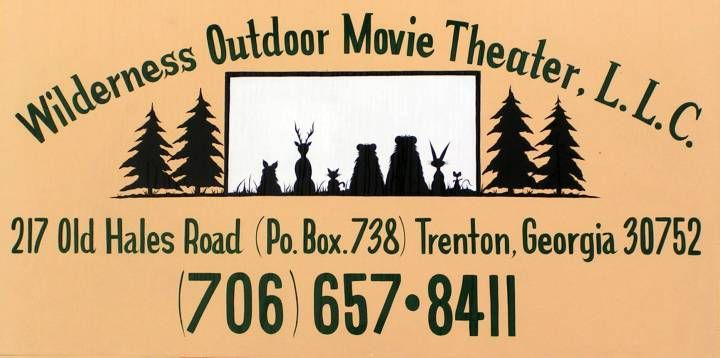 Wilderness Outdoor Movie Theater - Trenton, GA - Modern two screen drive-in close to Chattanooga, Tn. If you live west of or visiting the area, keep the show times in mind. The time zone changes from Central to Eastern near Chattanooga. The Wilderness is in Eastern. Closed during the winter.