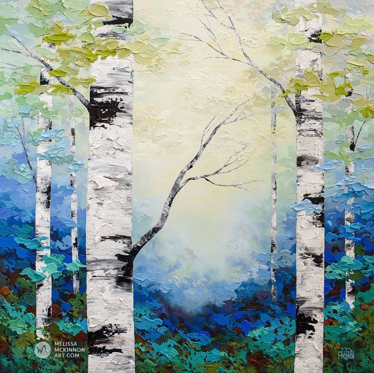 White Birch Giclee Prints Tree Painting Autumn Forest Paper Birch Trees Acrylic Paintings