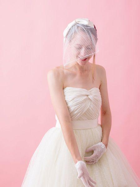 リボンのショートベール 手作り結婚式のすすめ「幸せのたね。」