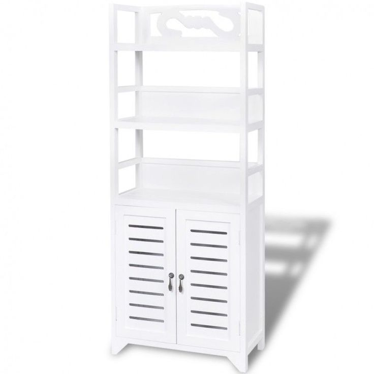 Bathroom Cabinet Storage Cupboard Toilet Etagere 2 Doors Shelf Rack Unit White