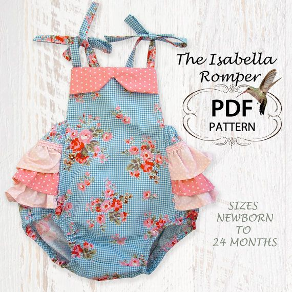 Baby sewing pattern for romper sunsuit, PDF Sewing pattern for baby girls toddler, Clothing pattern, Baby clothes, Isabella Romper. $7.50, via Etsy.