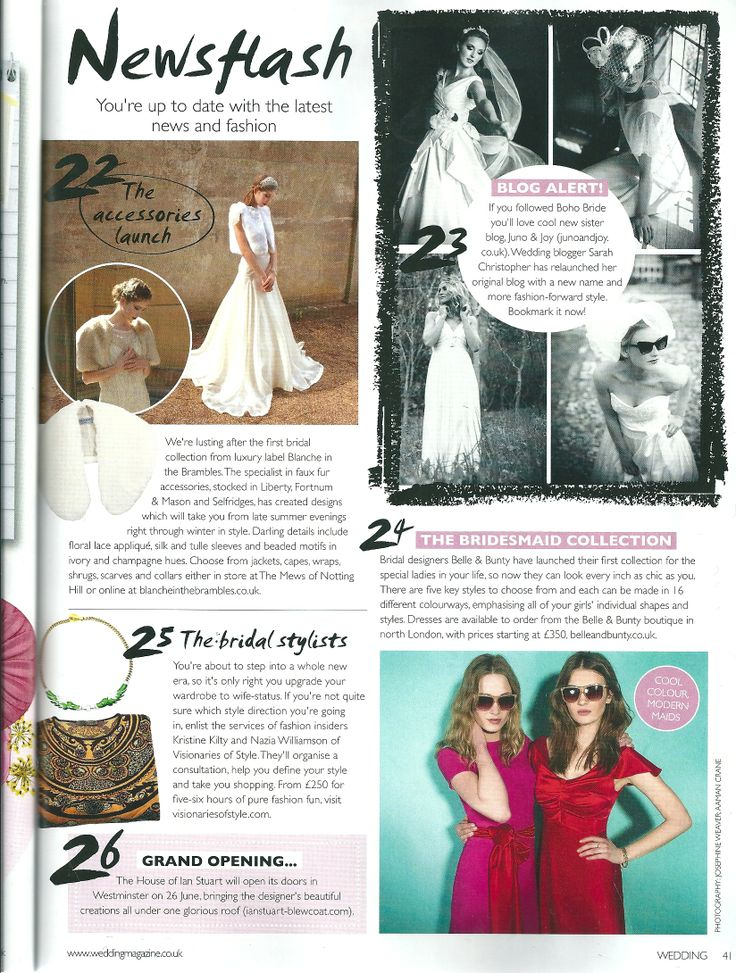 Wedding Magazine feature bridal faux fur accessories brand Blanche in the Brambles in the June/July 2014 edition.