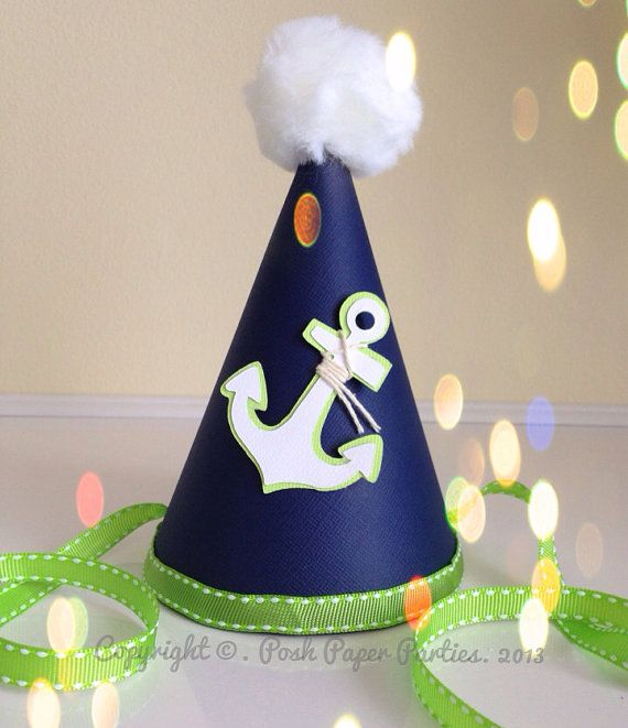 Nautical Party Hat - Baby's First Birthday - Navy, Lime Green and white - Anchor - on Etsy, $12.00