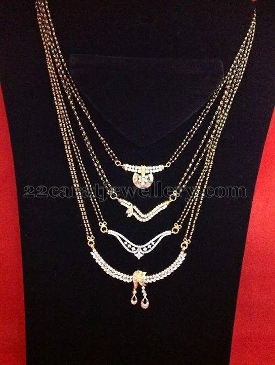 Jewellery Designs: Diamond Mangal Sutra by Tanmai Jewels