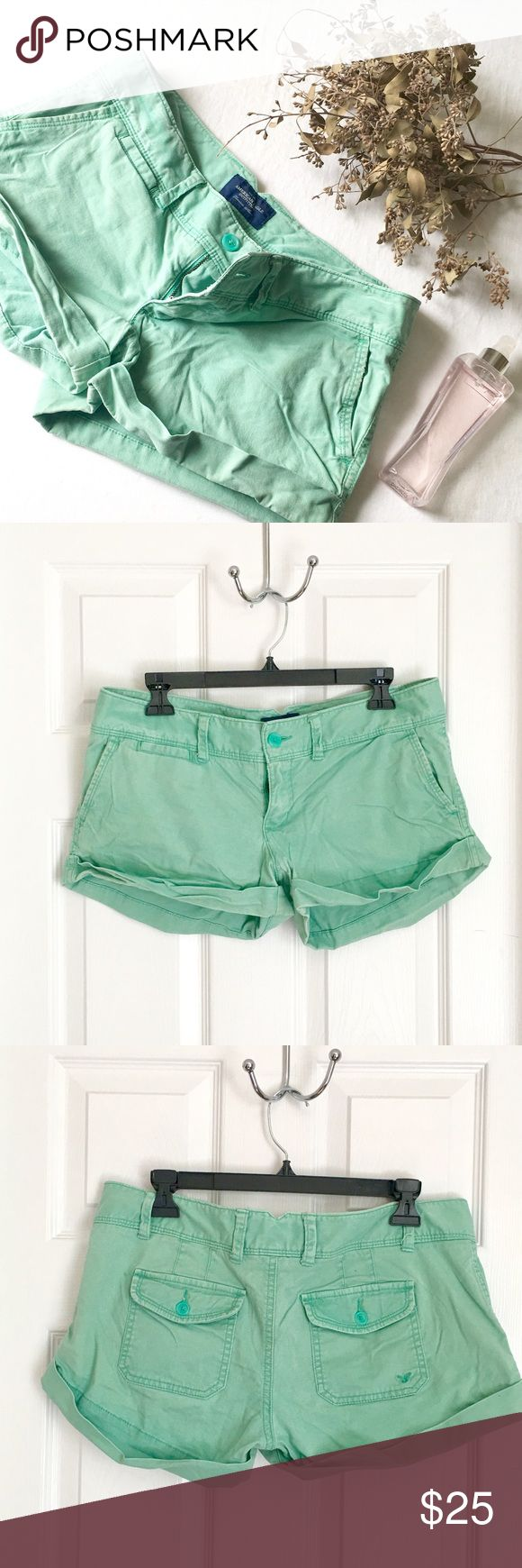 "American Eagle Mint Green ""Favorite Short"" American Eagle Outfitters Mint Green ""Favorite Short"".  Distressed with cuffs. Back pockets. Button and metal clasp closure. 98%Cotton, 2% Spandex. Made in Sri Lanka American Eagle Outfitters Shorts"