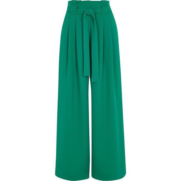 River Island Petite green paperbag waist wide leg pants (€72) ❤ liked on Polyvore featuring pants, green, wide leg trousers, women, paperbag trousers, woven pants, green wide leg pants, petite trousers and green trousers