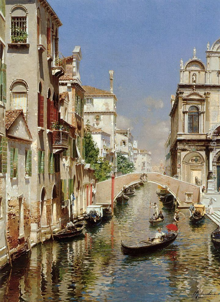 Rubens Santoro A Venetian Canal with the Scuola Grande di San Marco and Campo San Giovanni e Paolo, Venice painting | framed paintings for sale