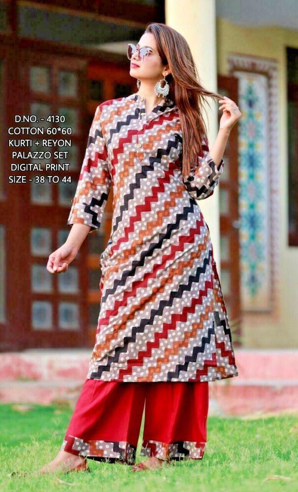 Indian kurta dress With skirt new Top Tunic Set blouse Combo Ethnic Bottom ff83