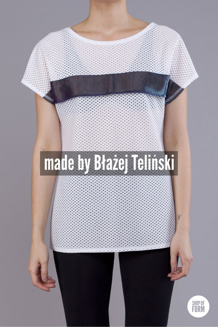 #t-shirt by Blazej Telinski #fashion #young #polish #designers #Poland #Lodz #festival #white #holes #futuristic photos are made by Marta Jagielska.