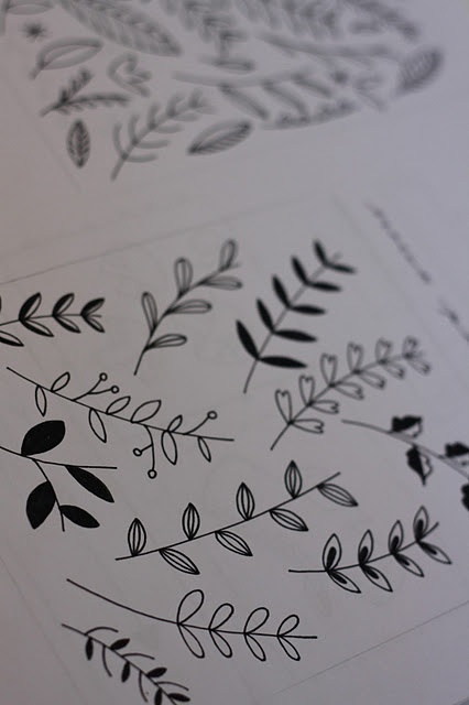 drawing leaves and vines