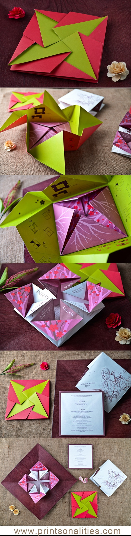 Fun origami wedding invitation by www.printsonalities.com, you have to unfold and refold to see the details of the wedding. :-)