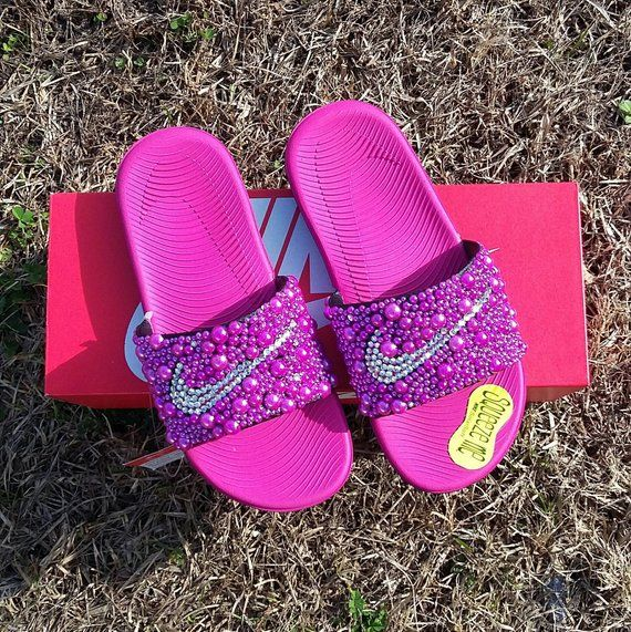 4e849be02 Pink Nike Bling Slides - Girls - Bedazzled - Custom slides - Youth - Big  Kids - Hot Pink - Bling Ben