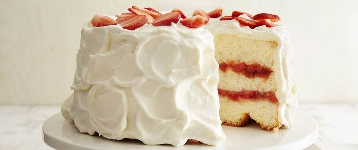 Flavor combinations such as strawberry and rhubarb are classics for a reason--they taste great together! Enjoy them both in this elegant layered angel food cake.