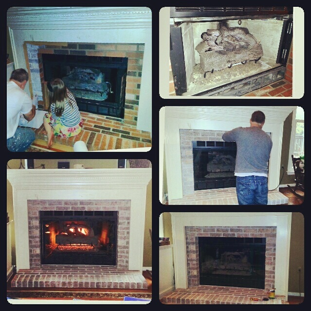 Fireplace Redo: Quick Change-up yields a much better look.    1)Painted interior slabs matte/satin black: HIGH HEAT PAINT NEEDED    2) We removed our doors and painted all brass black too.    3) Got to that ugly brick.  Picked a eggshell paint color that matched the mantle my husband built.    4)White washed with that paint color (1/2 paint/1/2 water mix).    5) Panicked because it was too white with no contrast against the  mantle.    6) Pulled out the Orbital Sander...    Voila... much…