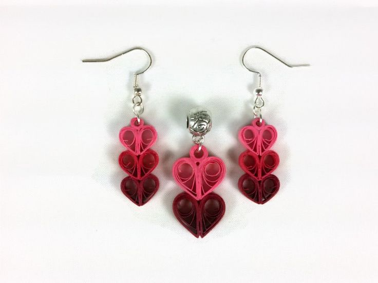 Heart Earrings Paper Quilling Hearts Jewelry Set