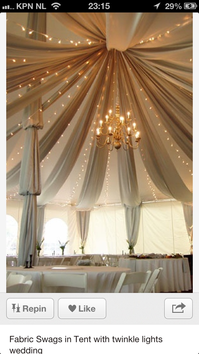 wedding reception venues melbourne cbd%0A Fabric Swags in Tent with twinkle lights  Gorgeous wedding tent with fabric  drapingif you have to use a tent  great idea