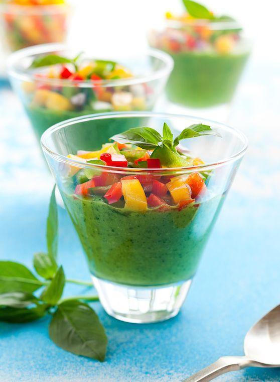 Green Gazpacho soup in glasses