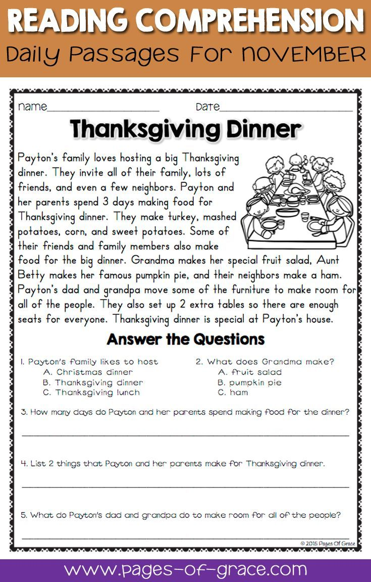 Reading Comprehension Passages And Questions For November  Pages Of Grace Resources  2nd Grade