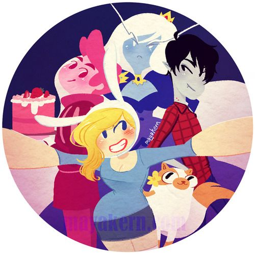 "2.25"" button of the cast of Adventure Time with Fionna and Cake."