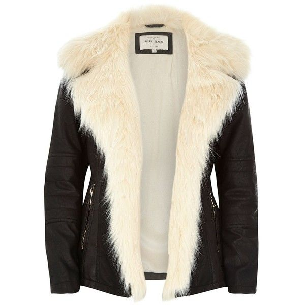 River Island Black leather-look biker jacket (£72) ❤ liked on Polyvore featuring outerwear, jackets, river island, sweaters, black, coats / jackets, sale, women, faux leather motorcycle jacket and fake leather jacket