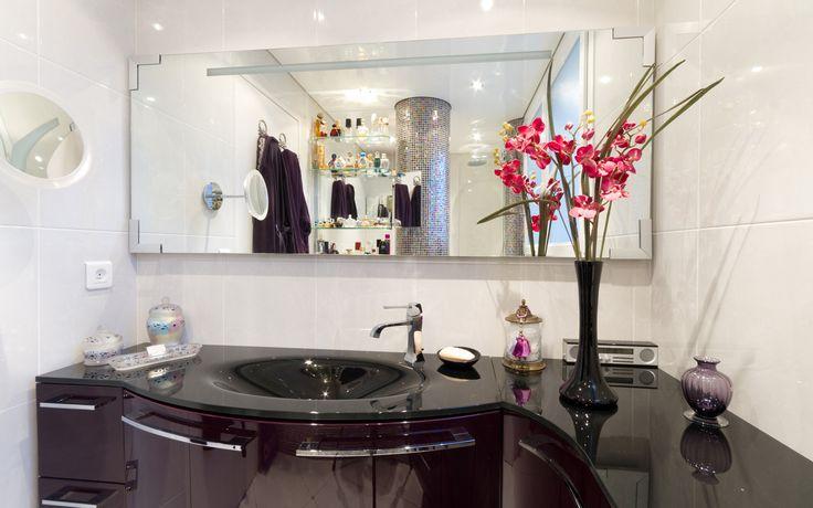 48 best salle de bains images on Pinterest Bathroom, Home ideas - salle de bain meuble noir
