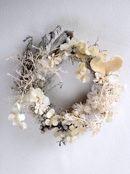 サマーホワイトリース - ドライフラワーリース/ウェルカムボード/ ウェルカムリースプリザーブドフラワー| Dried Flower Arrangement…