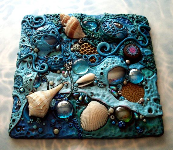 "Mosaic Art Tile, Polymer clay, Found Objects, Sea Shells at Low Tide Original...made atop a 6"" square Masonite board, with polymer clay, seashells, crystals, glass gems, grass and glass seed beads."