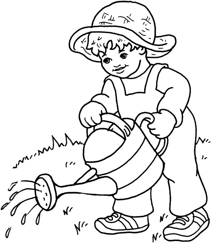 Friends Across America - Free Printable Coloring Page - Little Boy Watering the Garden