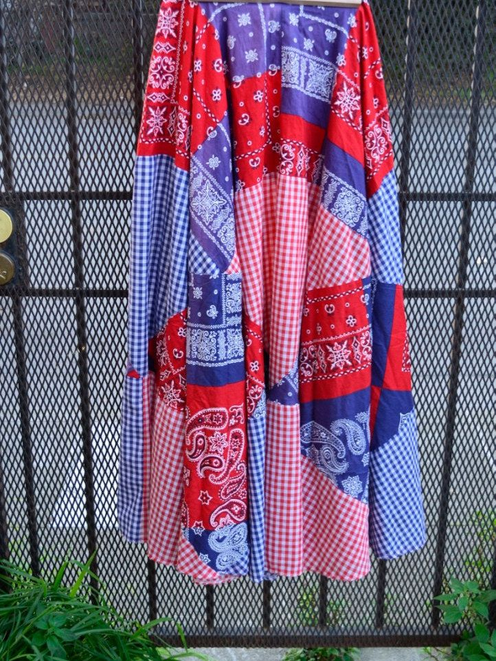 BANDANA MAXI SKIRT country western square dancing Twirl skirt red,white,blue, gingham print -outdoor festival celebration music festive fun by SerialMateriaL on Etsy