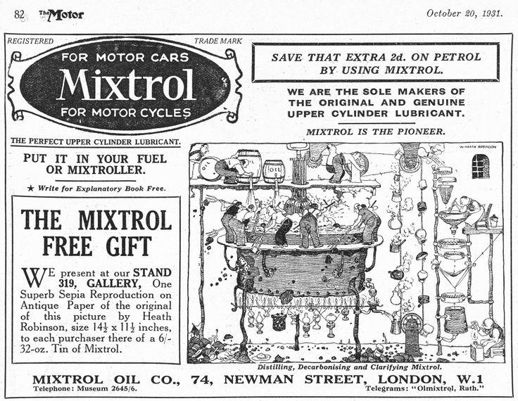 A Heath Robinson cartoon from Mixtrol Oil October 1931 - Cartoon.