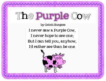 Purple Cow Poem | The Purple Cow by Gelett Burgess Poetry Activities & Craft Pack