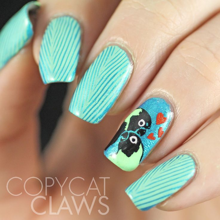 Copycat Claws Blue Color Block Nail Art: Valentine's Day On Pinterest