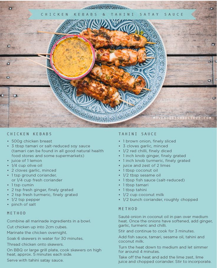 Recipe of the Week: Chicken Kebabs & Tahini Sauce Move Nourish Believe