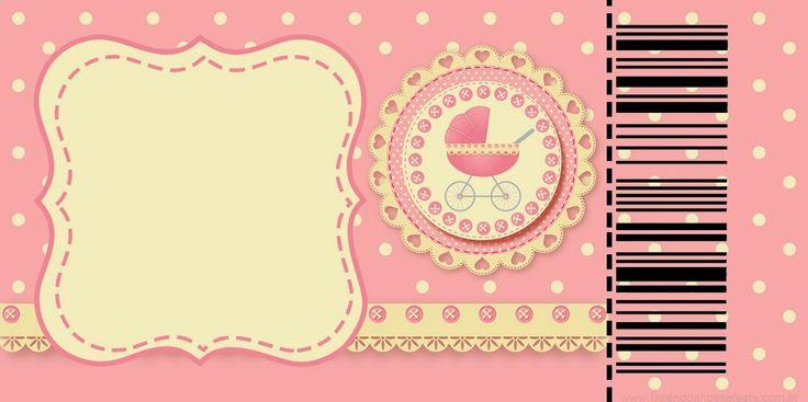 cochecito rosa  tarjetas e invitaciones para imprimir gratis