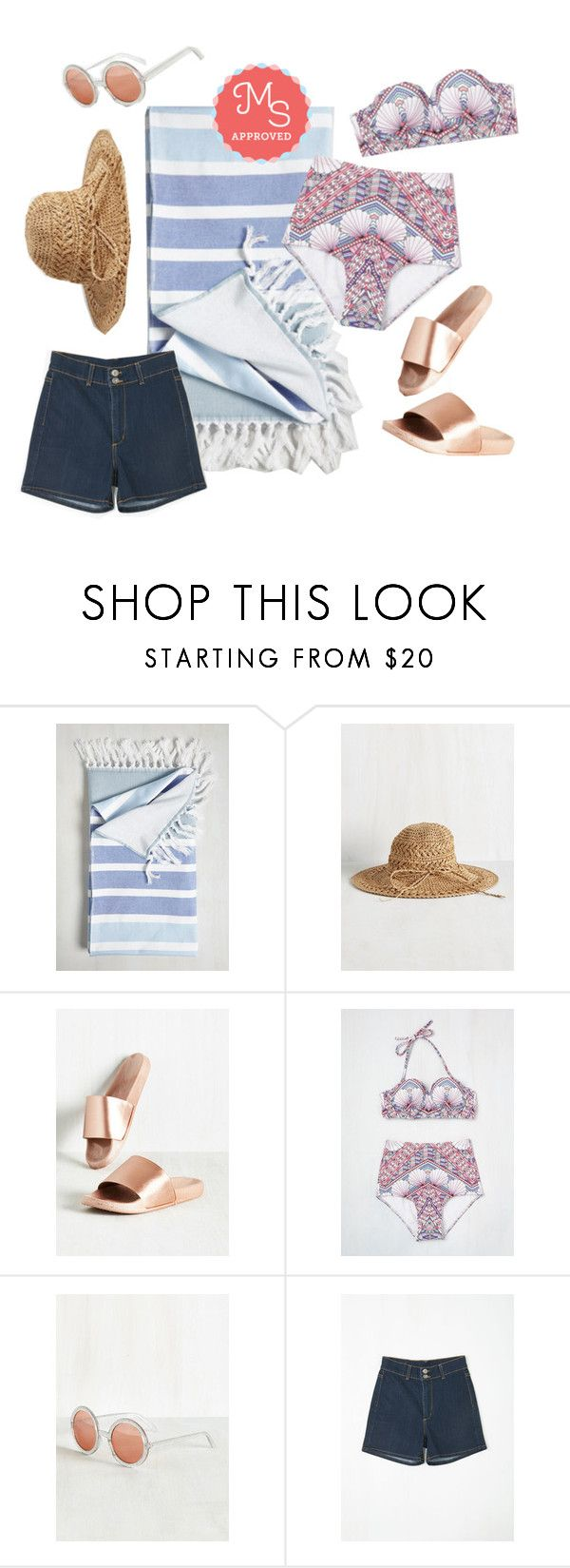 """""""Beachy as ABC Swimsuit Top in Deco"""" by modcloth ❤ liked on Polyvore featuring women's clothing, women, female, woman, misses, juniors, swimsuit, resortwear, modcloth and modstylist"""