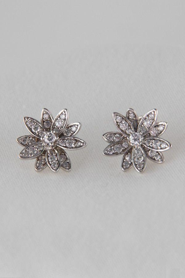 925 Sterling Silver Cubic Zirconia Flower Stud Earrings