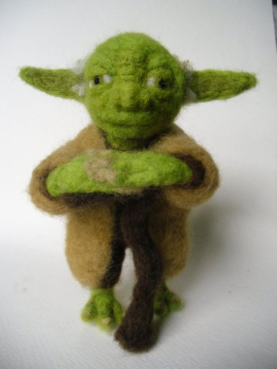 Needle Felted Yoda Character OOAK Wool by inanotherlifedesigns, $50.00