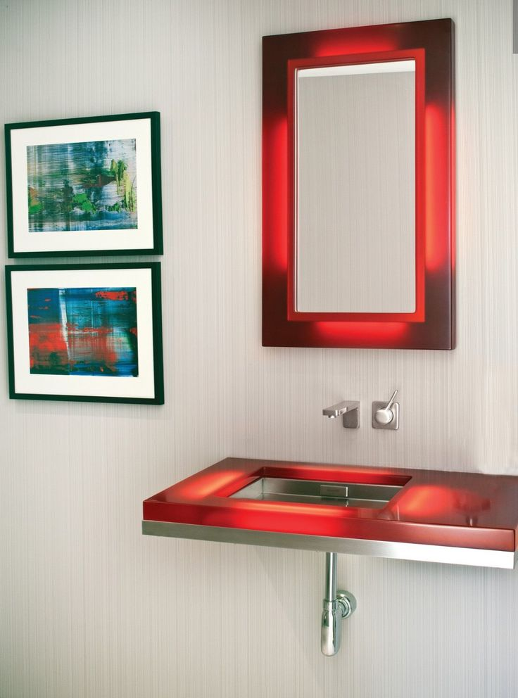 men bathroom tumblr%0A Contemporary Neutral Bathroom with Red Accents