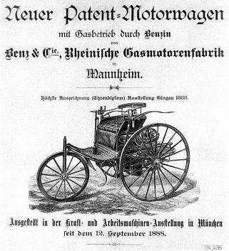 """Die erste Autowerbung erschien kurz nach der Erfindung des Automobils (1886)in einer Mannheimer Zeitung. Carl Benz warb in der Anzeige mit dem Slogan """"Mit Gasbetrieb durch Benzin"""" für seinen """"Patent-Motorwagen"""". Andere Slogans für dieses Fahrzeug waren """"Keine besondere Bedienung nötig!"""" oder """"Immer sogleich betriebsfähig!""""."""